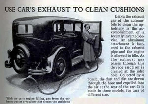 Use car exhaust to clean cushions -