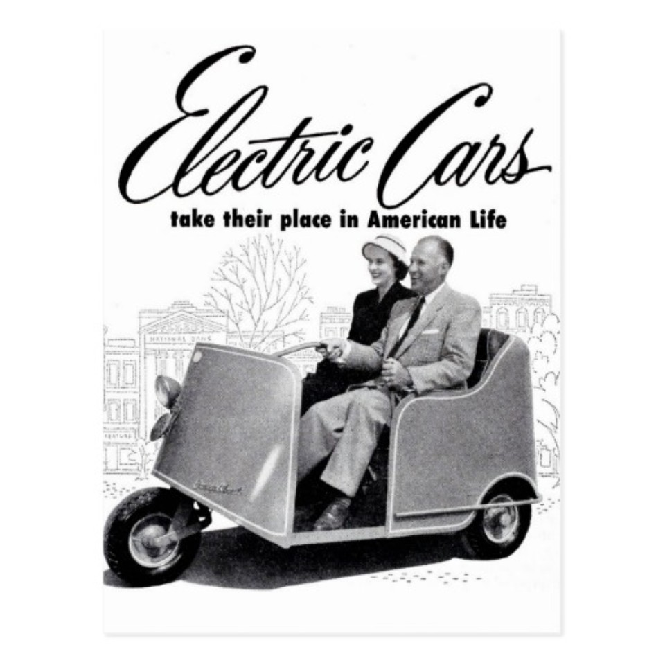 greens - retro vintage kitsch 50s electric car 3 wheel postcard r3ce5029291f845f8b2a79b0c5e49972f vgbaq 8byvr 512 - Petrol engine penalty? Hang on a minute, says car industry