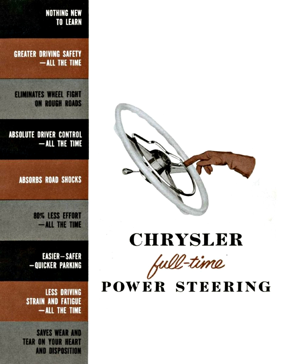 Chrysler offered power steering in 1951 on its big Imperial limousines 1