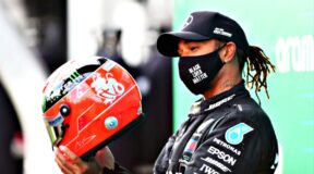 Emotional Lewis earns Schumacher helmet