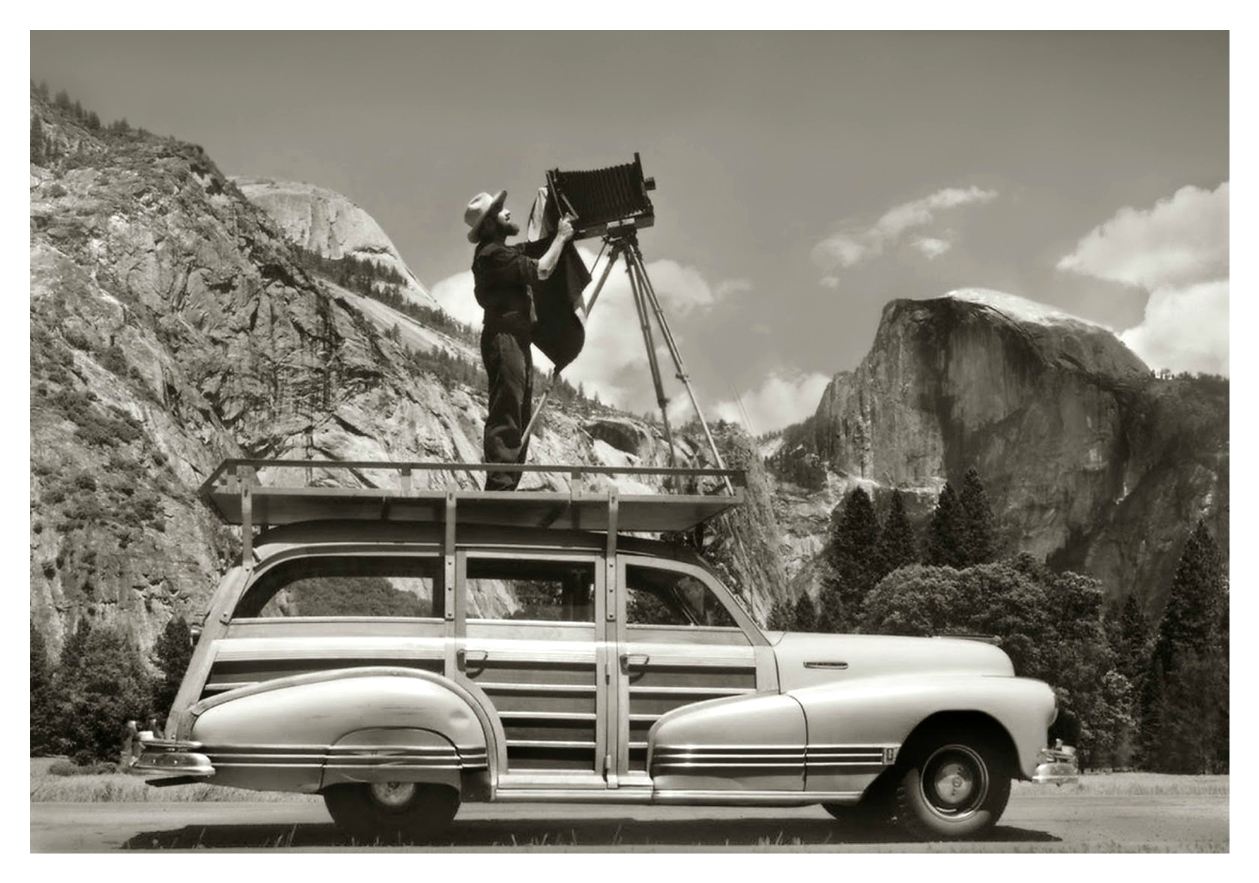 Ansel Adams shoots from car top in Yosemite national park