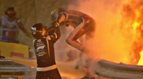 That crash . . . Fiery end to Bahrain for lucky Romain