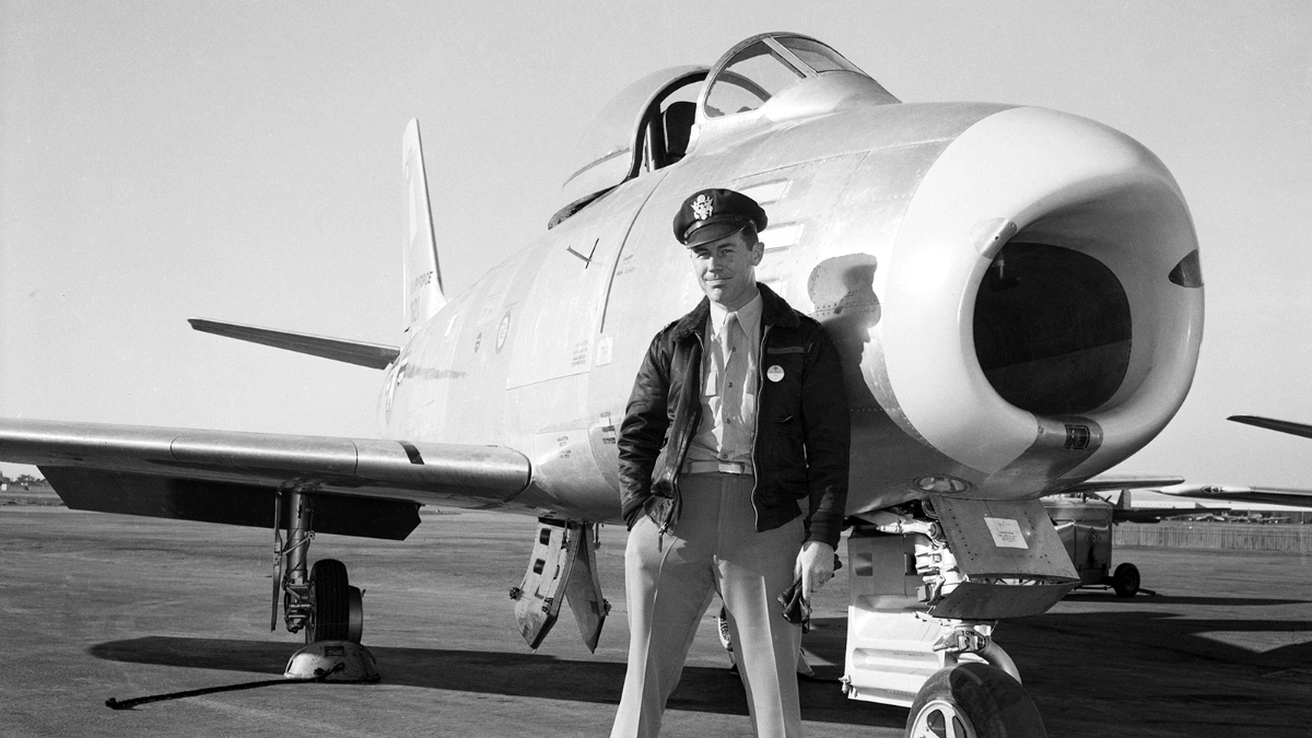 Chuck Yeager pose