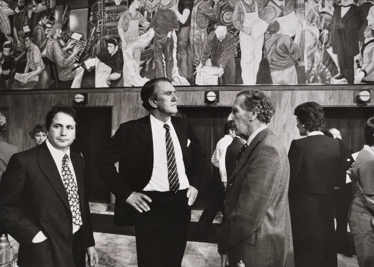 Prime Minister Malcolm Fraser At The Unveiling Of A Mural At The Sydney Morning Herald Foyer Broadway Sydney NSW