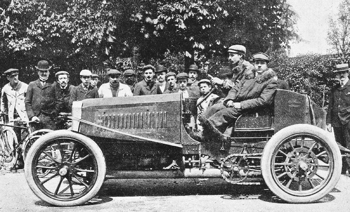 Henri and Maurice Farman on a Panhard Levassor on the Tour of the Ardennes in 1903