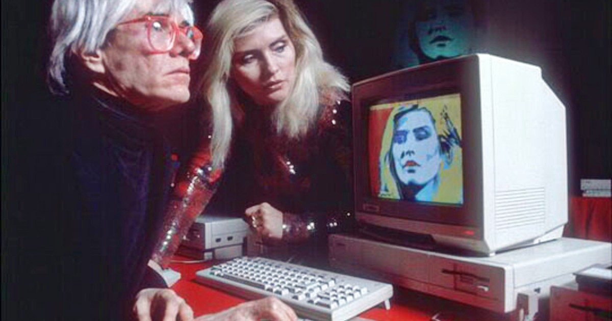Andy Warhol and Debby Harry with Amiga computer