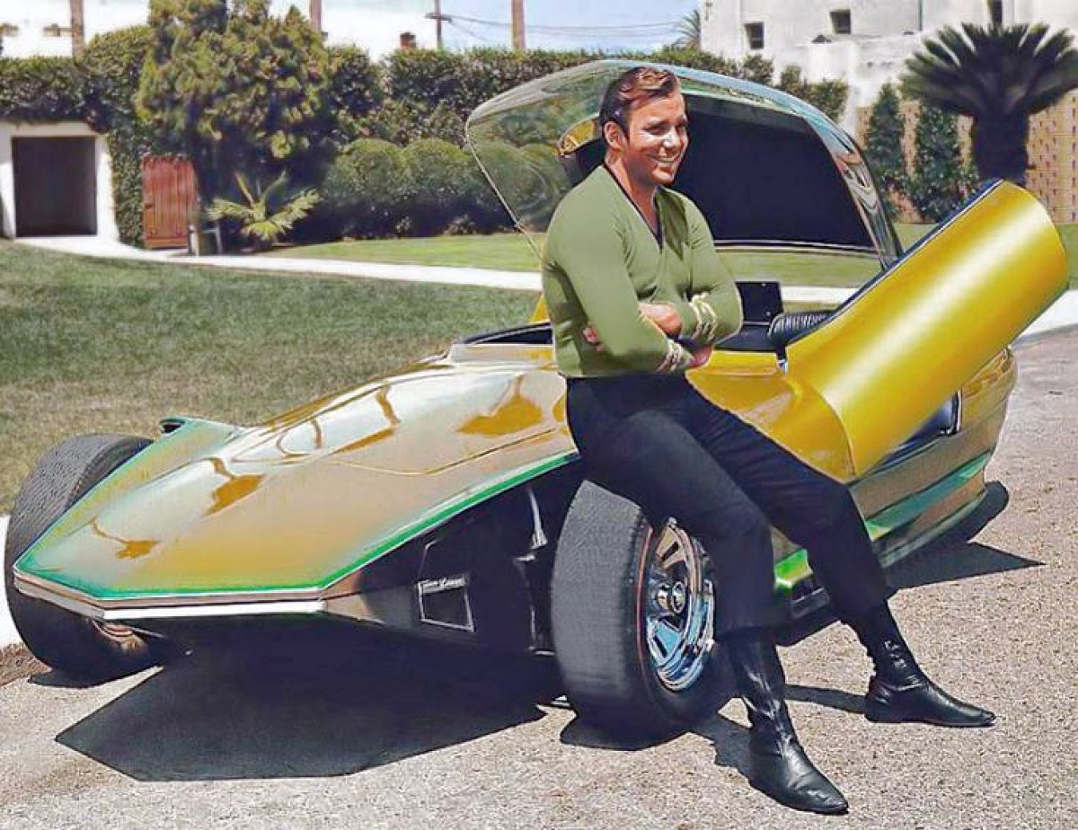 Star Treks William Shatner pictured with the car.