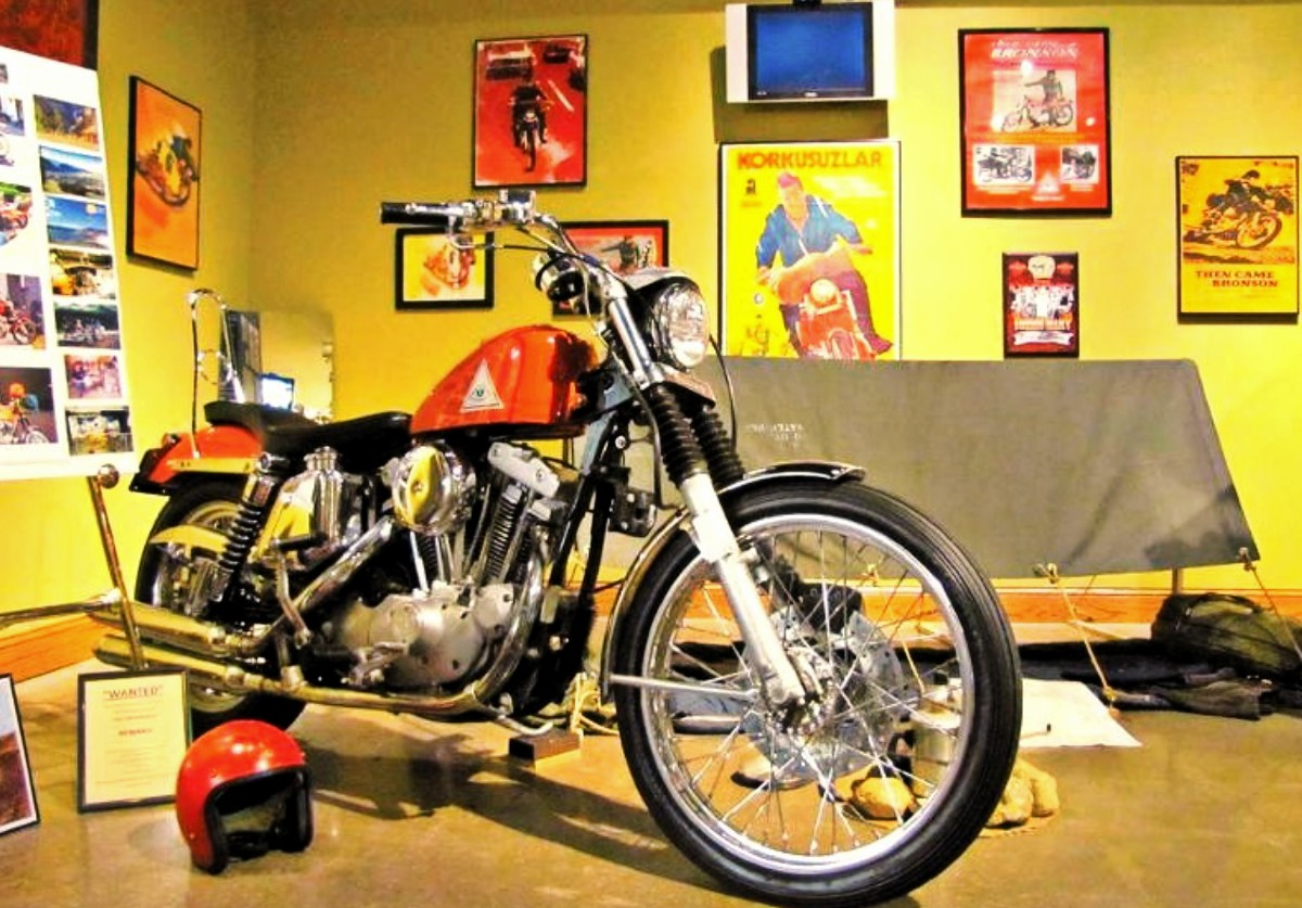 Bronsons Harley on display at the National Motorcycle Museum in Iowa