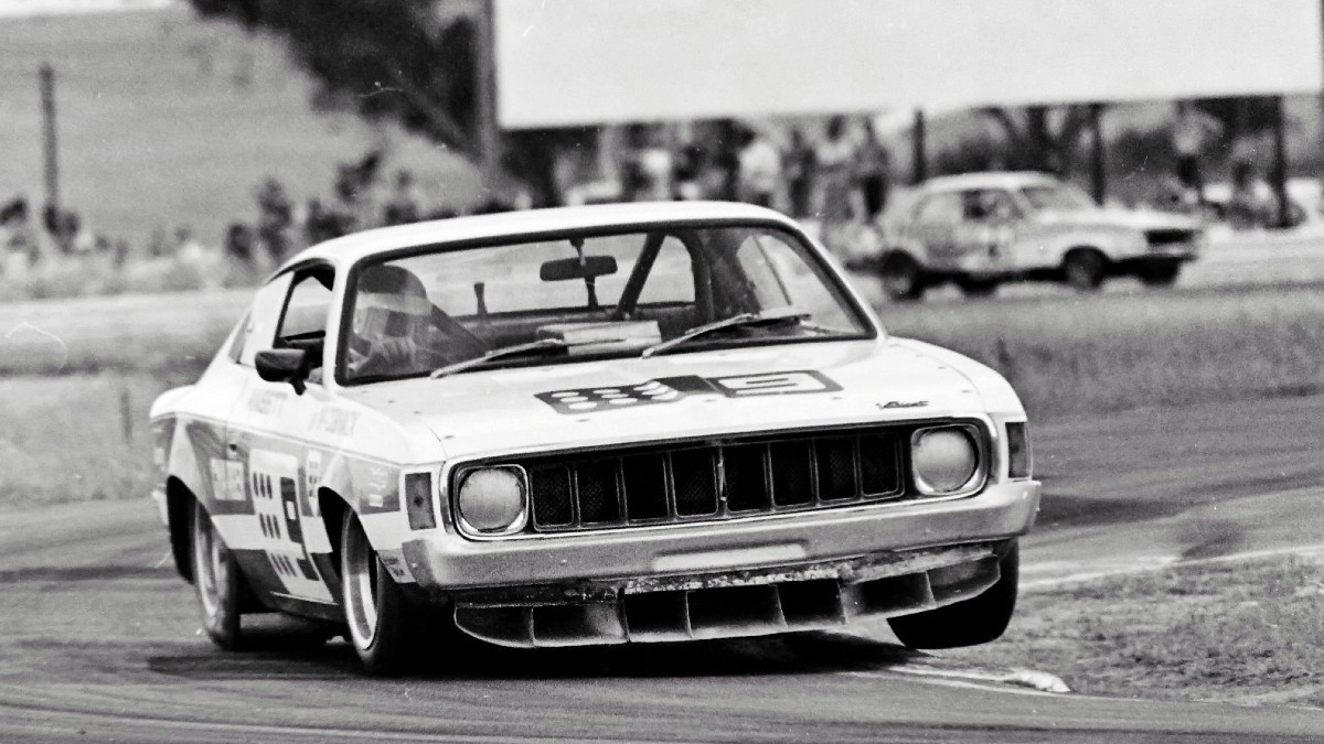 John McCormack wrestles his big powerful but relatively nimble Valiant Charger Repco around the tight Calder Melbourne confines in 1974